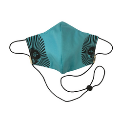 Turquoise & Black Sun Face Mask w/Filter Pocket