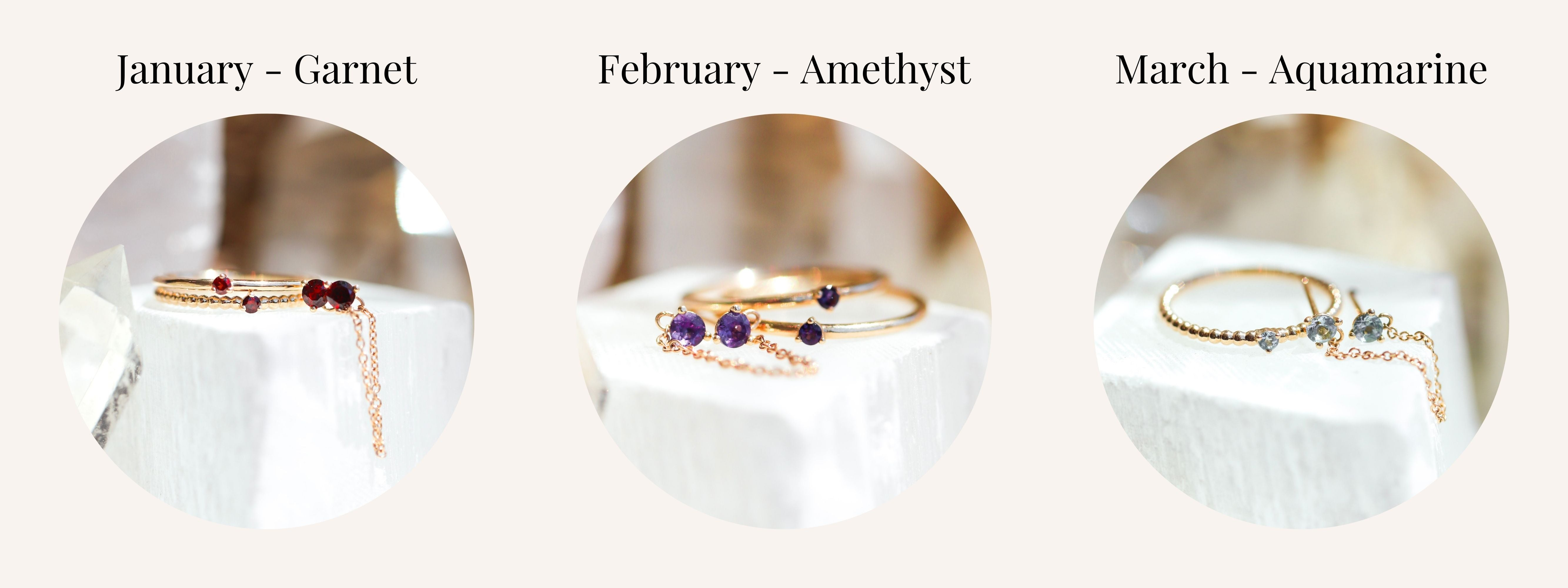 January February and March Birthstones