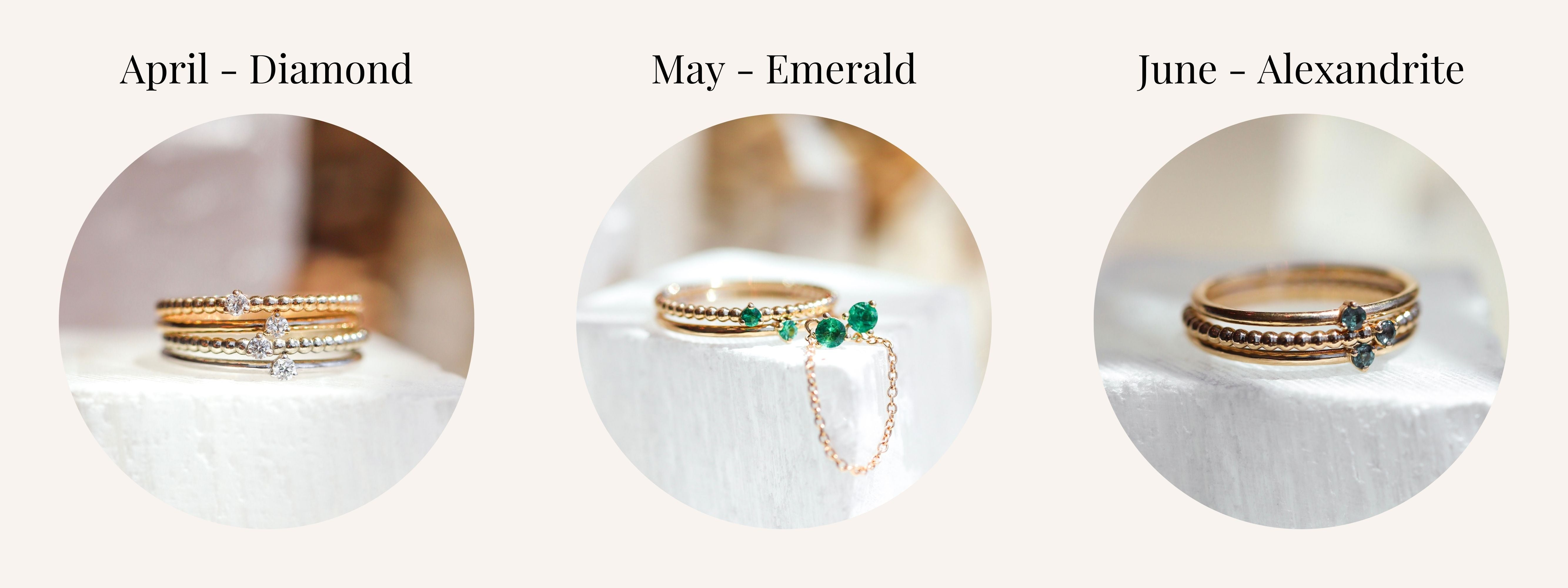 April May and June Birthstones