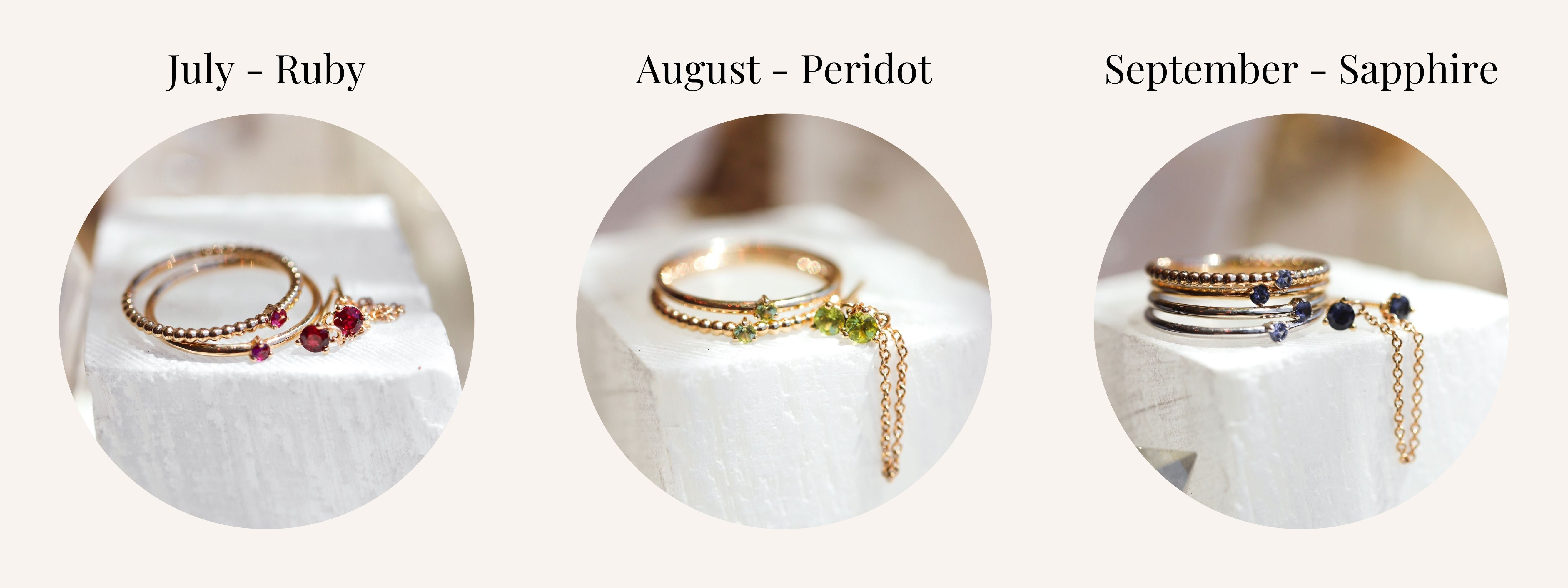 July August and September Birthstones