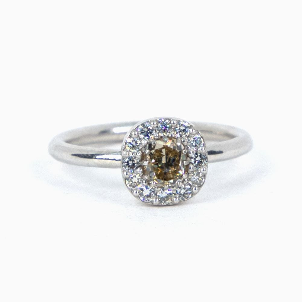 Platinum Champagne Cushion Ring - Consider the Wldflwrs