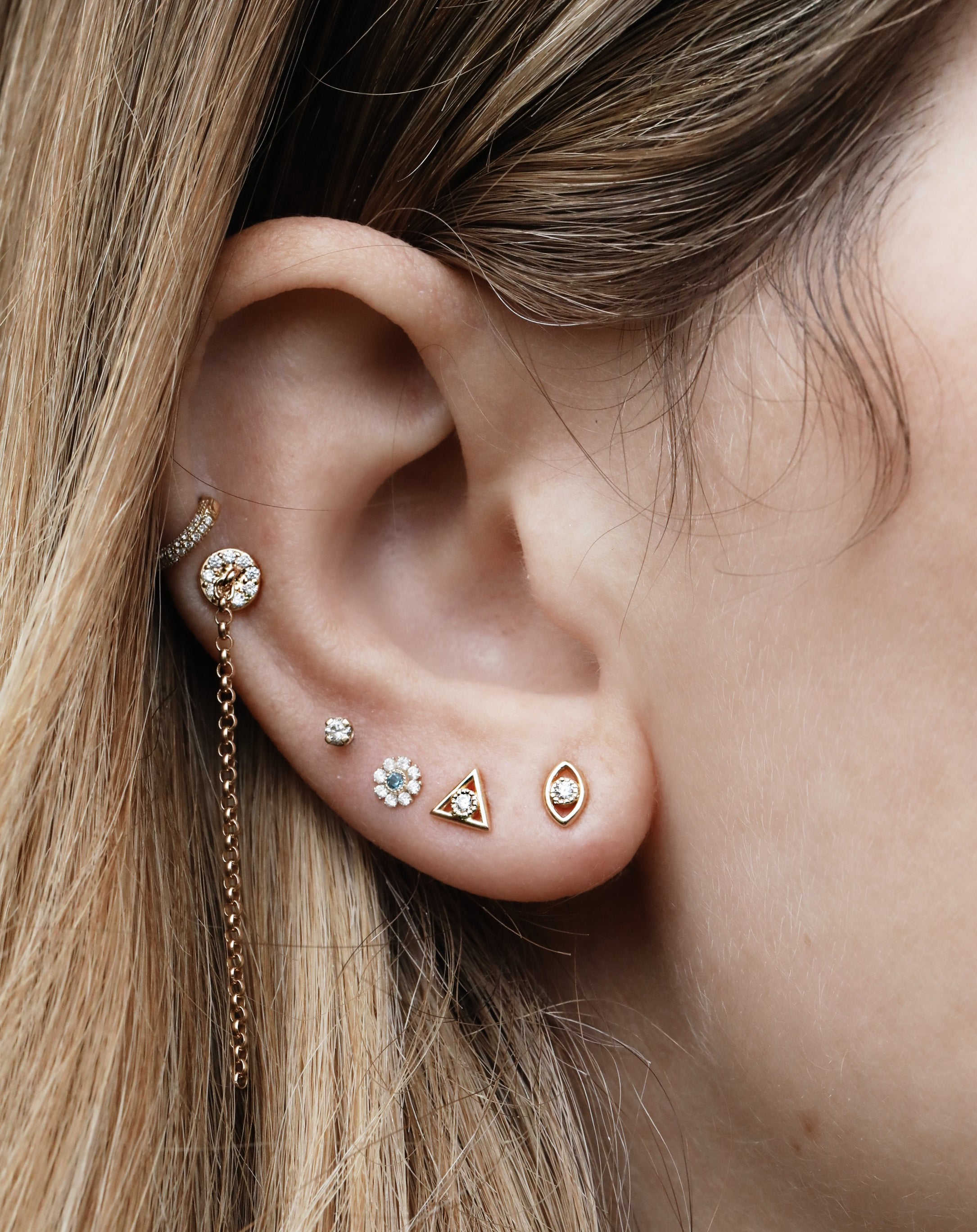 Pavé Disc and Chain Stud Earring (Ready-to-Ship)