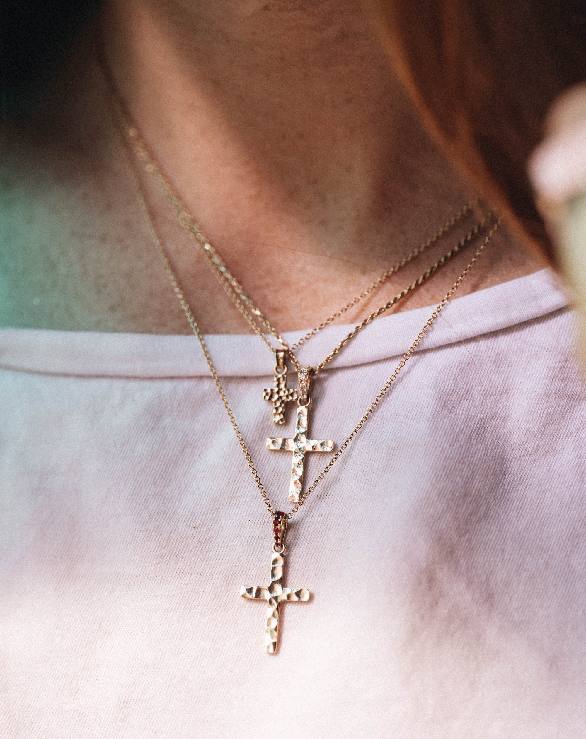 Large Hammered Cross Heritage Charm
