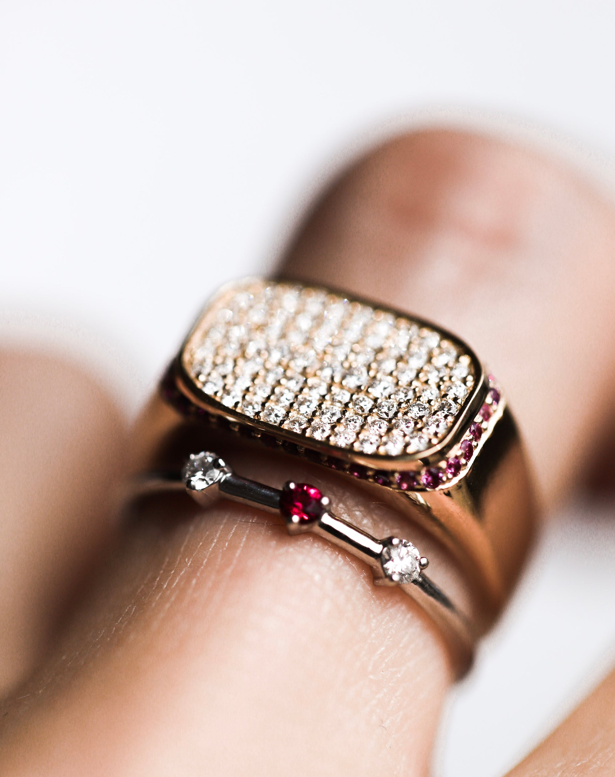 Plateau Signet with Pavé Face and Hidden Halo