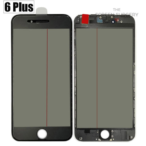 Iphone 6 Plus - 4 In 1 Front Glass And Small Parts Black
