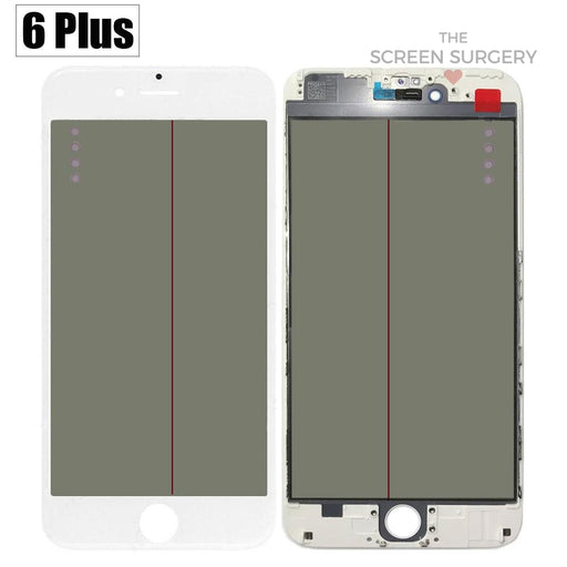 Iphone 6 Plus - 4 In 1 Front Glass And Small Parts White