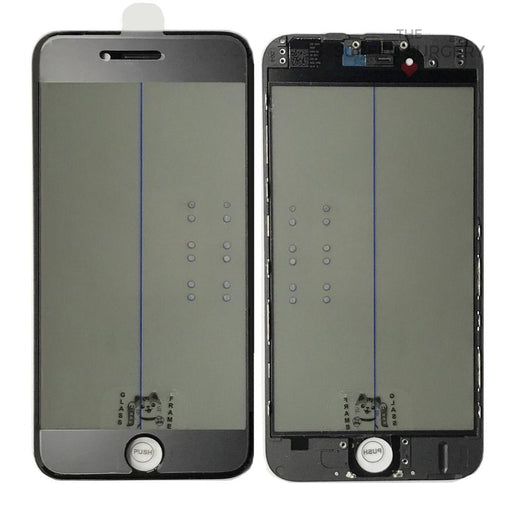 Iphone 6G - 4 In 1 Front Glass And Small Parts Black