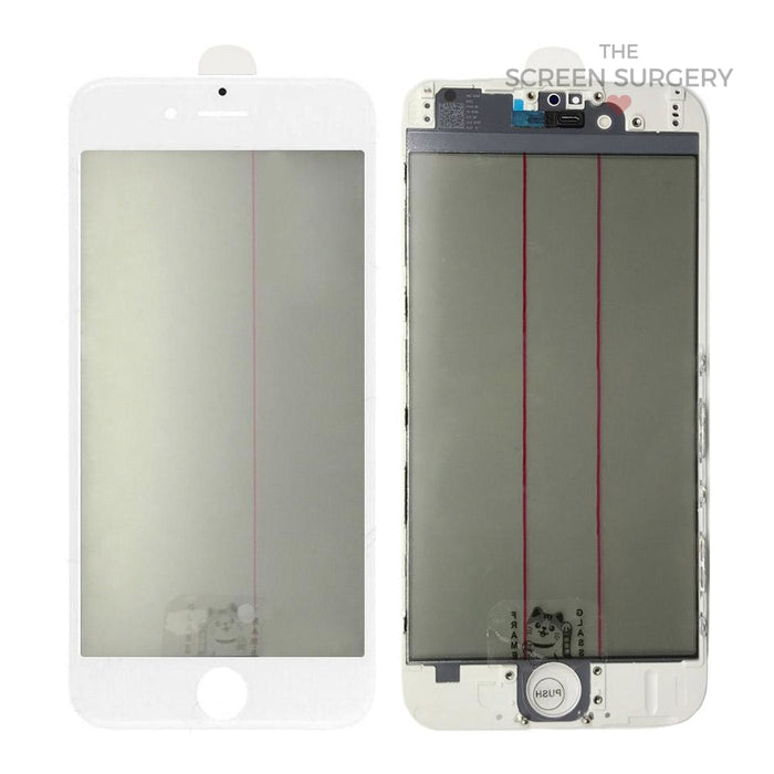Iphone 6G - 4 In 1 Front Glass And Small Parts White