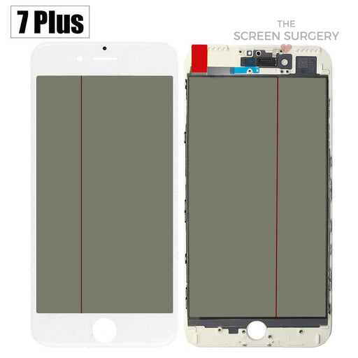 Iphone 7 Plus - 4 In 1 Front Glass And Small Parts White