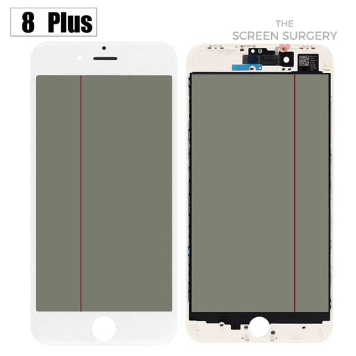 Iphone 8 Plus - 4 In 1 Front Glass And Small Parts White