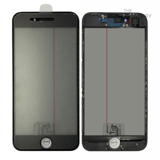 Iphone 8G - 4 In 1 Front Glass And Small Parts Black