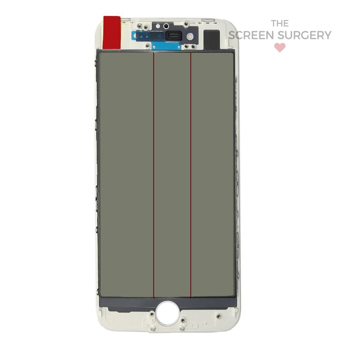Iphone 8G - 4 In 1 Front Glass And Small Parts White
