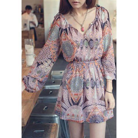 Printed Mini Chiffon Long Sleeve Dress - ONE SIZE - THEGIRLSOUTFITS