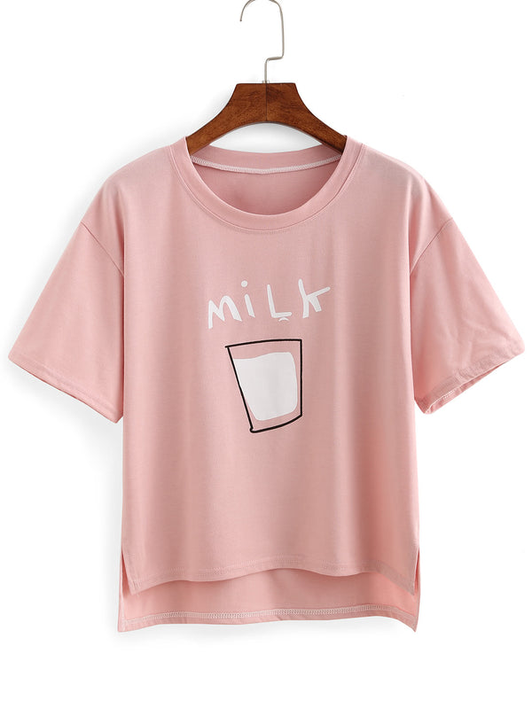 Milk Print High-Low T-shirt - THEGIRLSOUTFITS