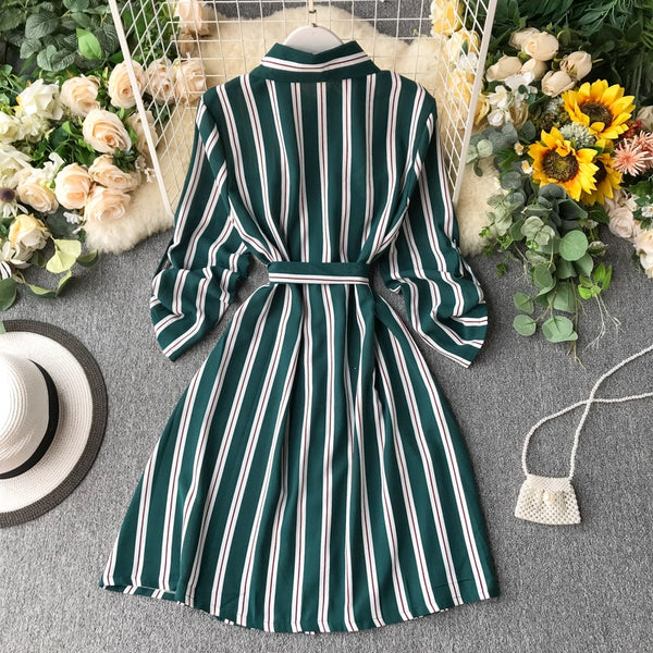 Spring Vintage Slim Striped Print Bandage Blouse Tie - THEGIRLSOUTFITS