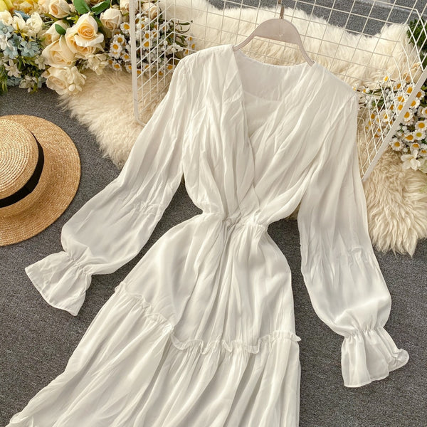V Neck Vintage Slim Pleated Chiffon Spring Long A-Line Elegant Puff Sleeve Tunic - THEGIRLSOUTFITS
