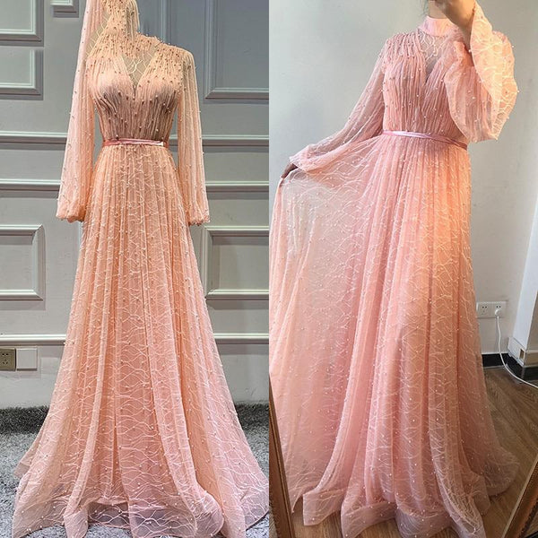 Black Peach Pearls Beach Tulle Prom - THEGIRLSOUTFITS