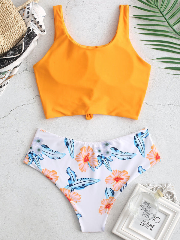Tankini Tropical Leaf Knotted Bikini Set - THEGIRLSOUTFITS