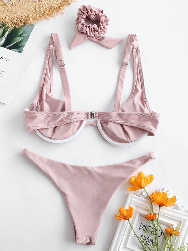Shiny Underwire Bikini Set With Hair Band - THEGIRLSOUTFITS
