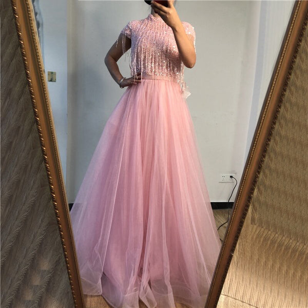Pink Tassel Beading A-Line Tulle - THEGIRLSOUTFITS