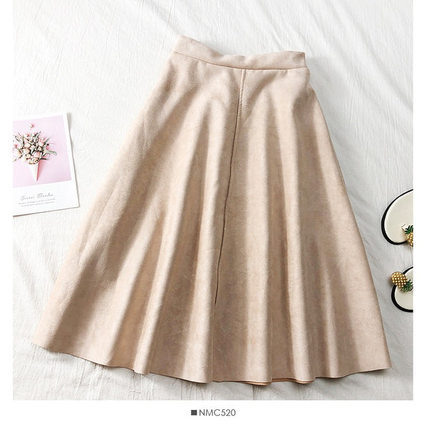 Mid Calf Suede Leather Skirt Pleated - THEGIRLSOUTFITS