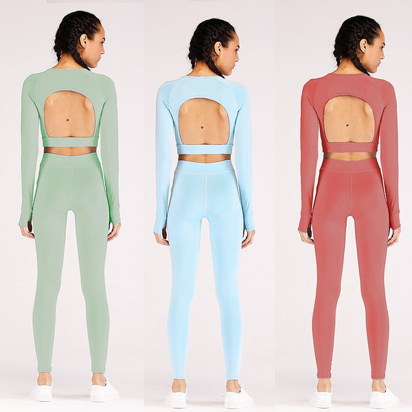 Leaking Back Top High Elasticity Yoga Pants - THEGIRLSOUTFITS