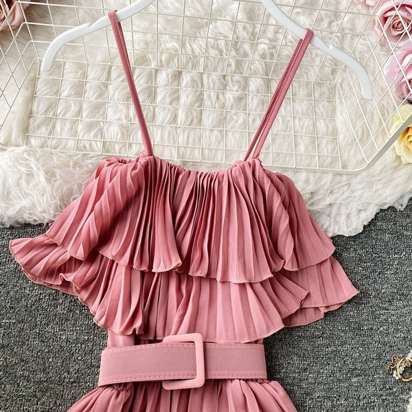 Boho ruffles off shoulder bandage long pleated spaghetti strap tunic - THEGIRLSOUTFITS