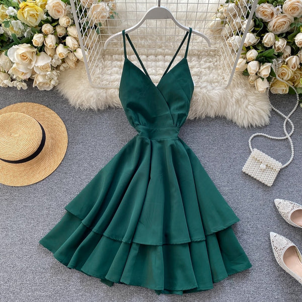 Boho v neck slim spaghetti strap short ball gown tie backless beach - THEGIRLSOUTFITS