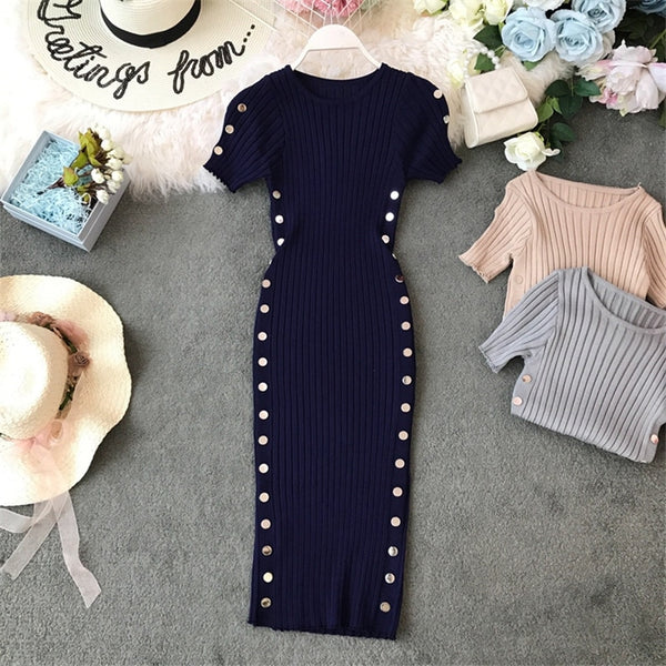 Button Vintage Ladies Slim Bodycon Knit Office Pencil Elegant Sheath Knee Length - THEGIRLSOUTFITS