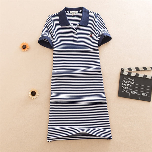 Embroidery Slim Striped Print Polo Cotton - THEGIRLSOUTFITS