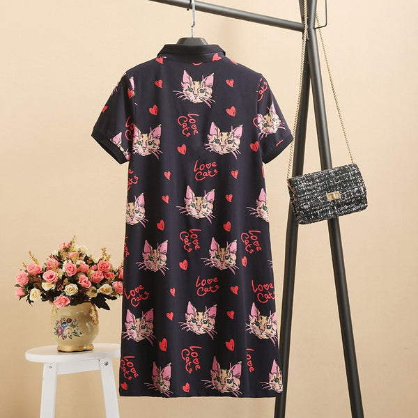 Slim Polo Love Cat Print Mini Cotton Cartoon Style - THEGIRLSOUTFITS
