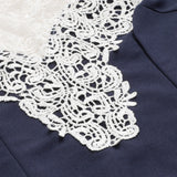 Navy Floral Lace Yoke FormThegirlsoutfits