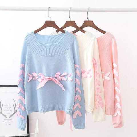 Cute Silk Banded Bowknot Loose SweaterThegirlsoutfits