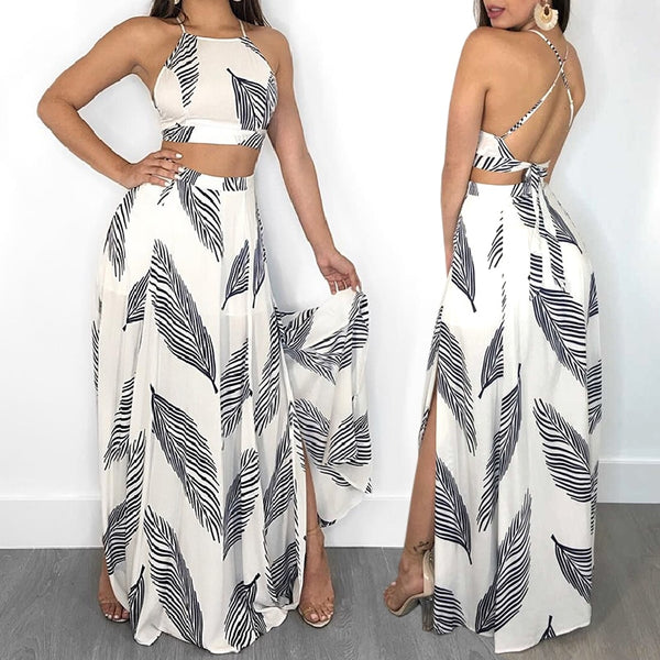 Leaf Print Top Bandages Backless Two Piece Set - THEGIRLSOUTFITS
