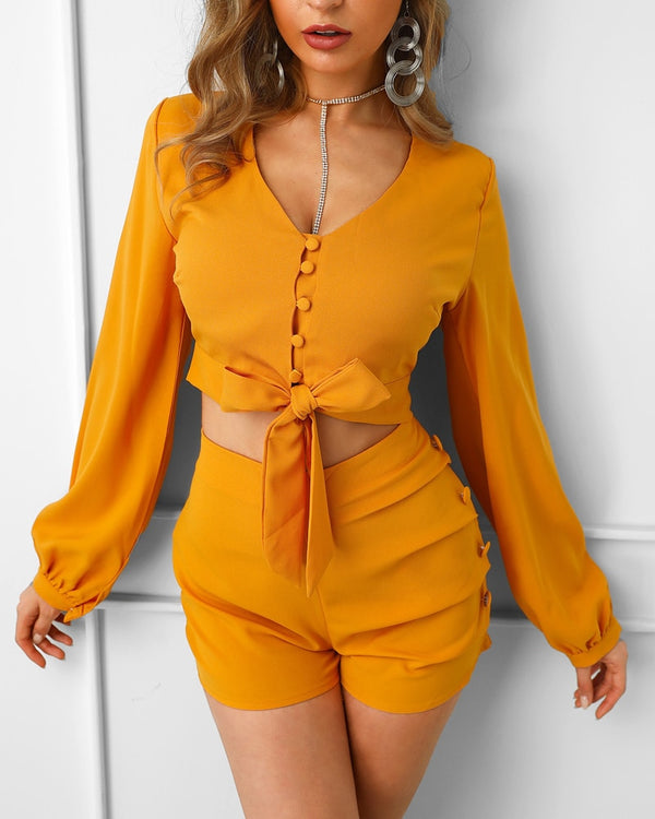 Lantern Sleeve Buttoned Top And Short Sets - THEGIRLSOUTFITS