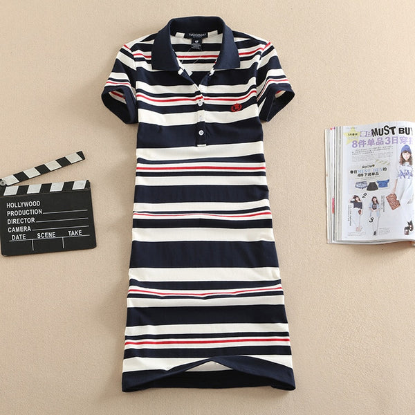 New Embroidery Stripe Polo Print Evening Cotton Mini Elegant - THEGIRLSOUTFITS
