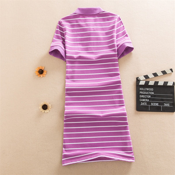 New Slim Striped Print Polo Elegant Cotton - THEGIRLSOUTFITS