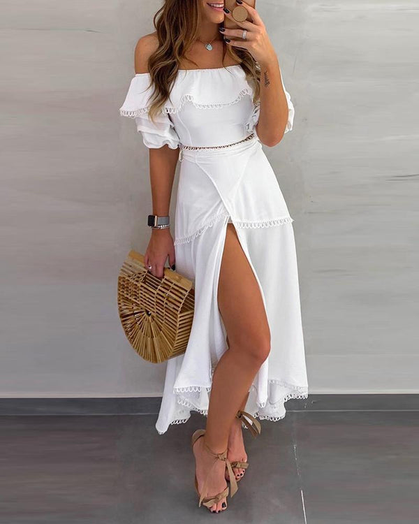 Off Shoulder Ruffle Tops Split Skirt Sets - THEGIRLSOUTFITS