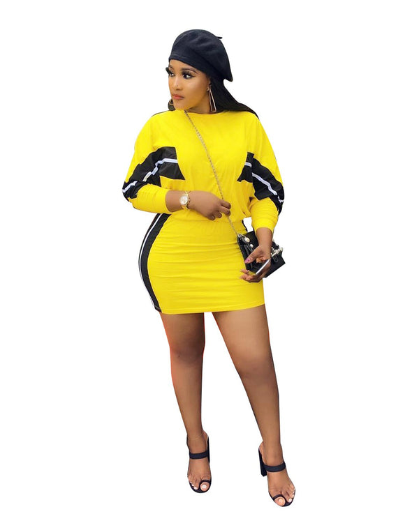 Plus Size XXL Two Piece Set Women Long Sleeve Tops and Mini Skirts Sets Yellow Striped Outfits 2 Pieces Set Matching Sets - THEGIRLSOUTFITS