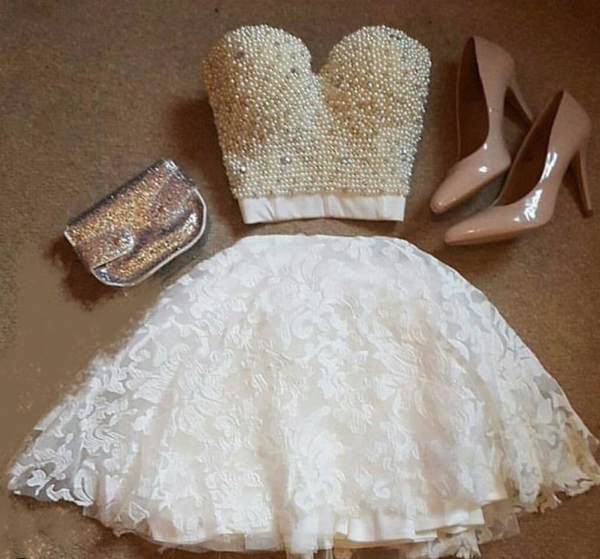 Two Piece White Lace Homecoming Dress with Pearls - THEGIRLSOUTFITS