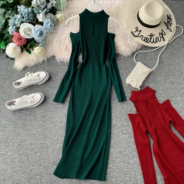 Slim Halter Neck Sweater Off Shoulder Bodycon Knitted Long Elegant - THEGIRLSOUTFITS