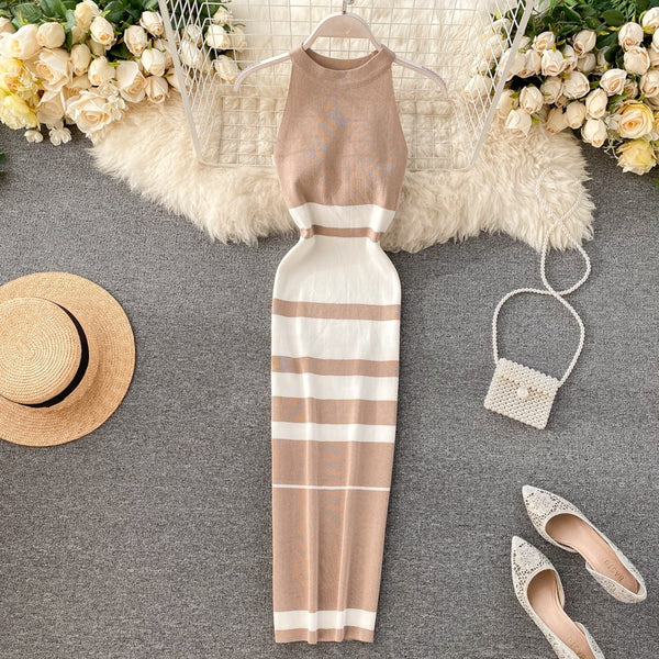 Slim Halter Neck striped print Knitted Bodycon Long tank patchwork tunic elastic - THEGIRLSOUTFITS