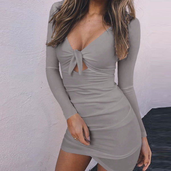 Slim V Neck Bandage Bodycon Irregular Long Sleeve - THEGIRLSOUTFITS