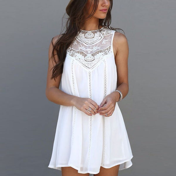 White Lace Casual Beach Sun Dress - THEGIRLSOUTFITS
