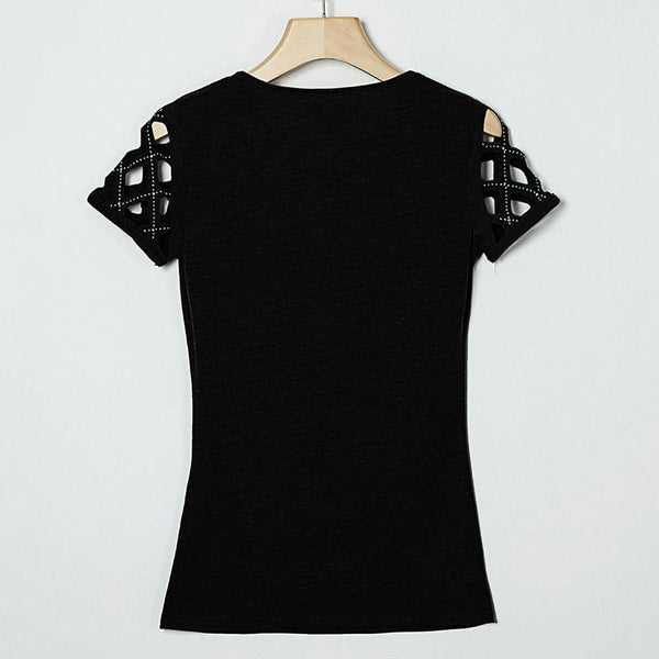 O-Neck Short Sleeve  Hollow Out Beading - THEGIRLSOUTFITS