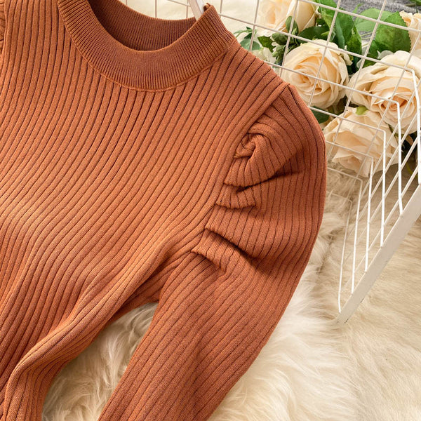 Vintage button Slim Bodycon Knitted Sweater short puff sleeve elastic - THEGIRLSOUTFITS