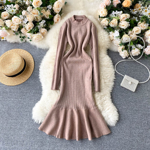 slim ruffles Bodycon Knitted Sweater mermaid knee length - THEGIRLSOUTFITS