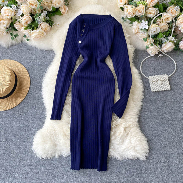 Slim Button Bodycon Knitted Sweater pencil knee length sheath - THEGIRLSOUTFITS