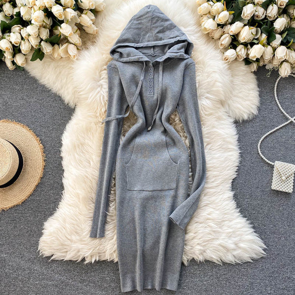 Slim Hooded Bodycon Knitted Sweater Short stretch Knit sheath - THEGIRLSOUTFITS