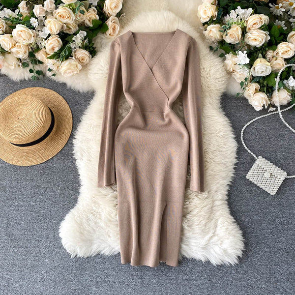 Slim V Neck split Knitted short Sweater Bodycon club sheath - THEGIRLSOUTFITS